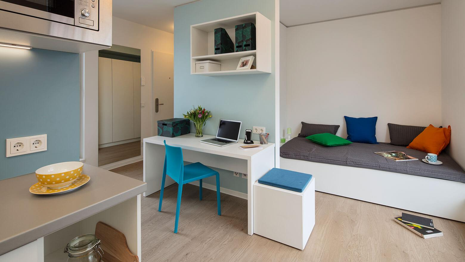 Stundentenapartment mit Küche im Quartillion Köln